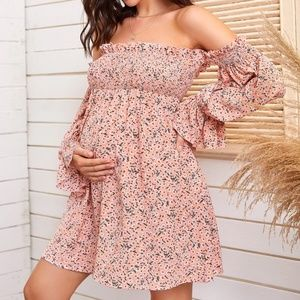 MATERNITY off shoulder pink floral print dress